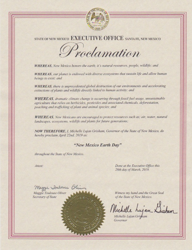 Governor of NM's Earth Day Proclamation